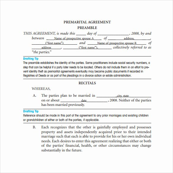 8 Prenuptial Agreement Templates – Samples Examples