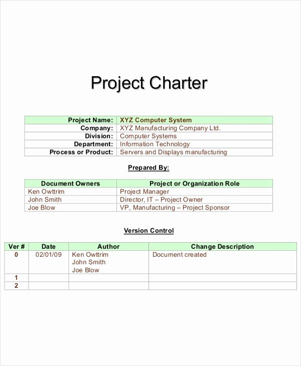 8 Project Charter Templates Free Pdf Word Documents