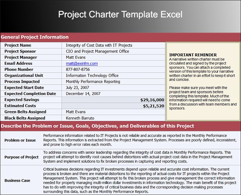 8 Project Charter Templates Free Word Pdf Excel formats