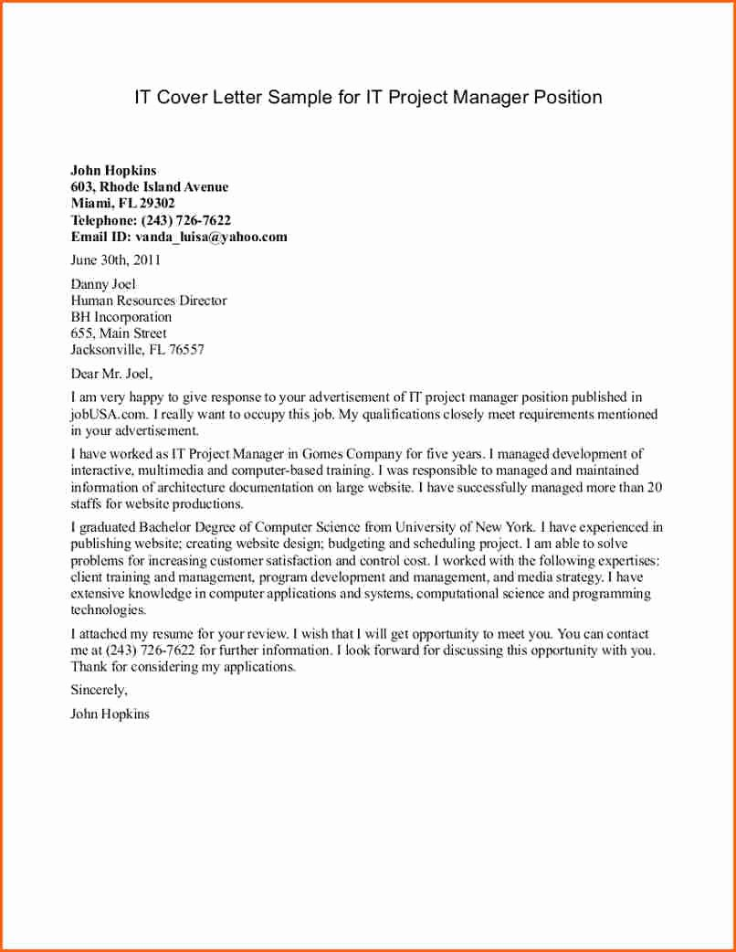 8 Project Manager Cover Letter Bud Template Letter