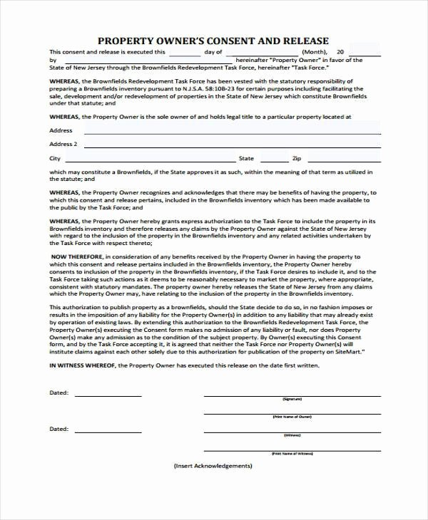 8 Property Release form Samples Free Sample Example