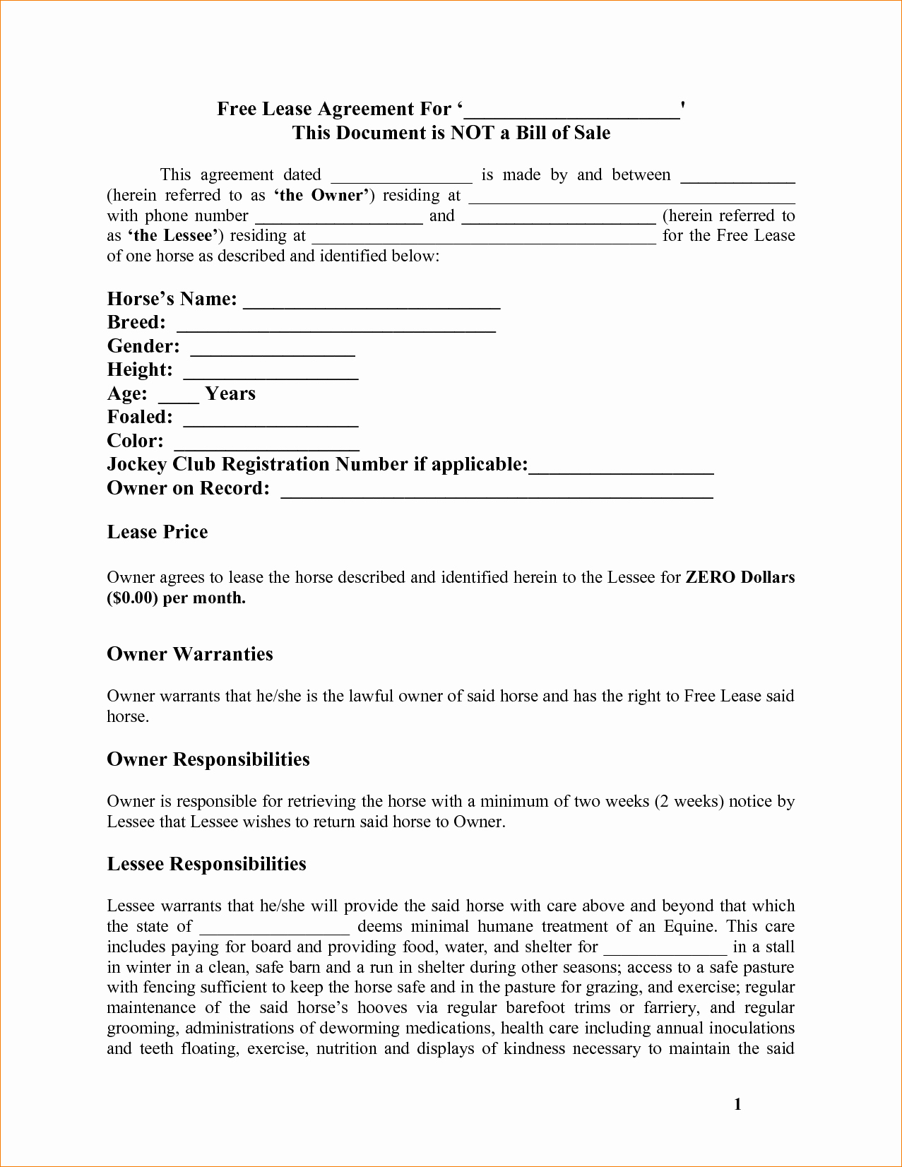 8 Rent to Own Contract Template