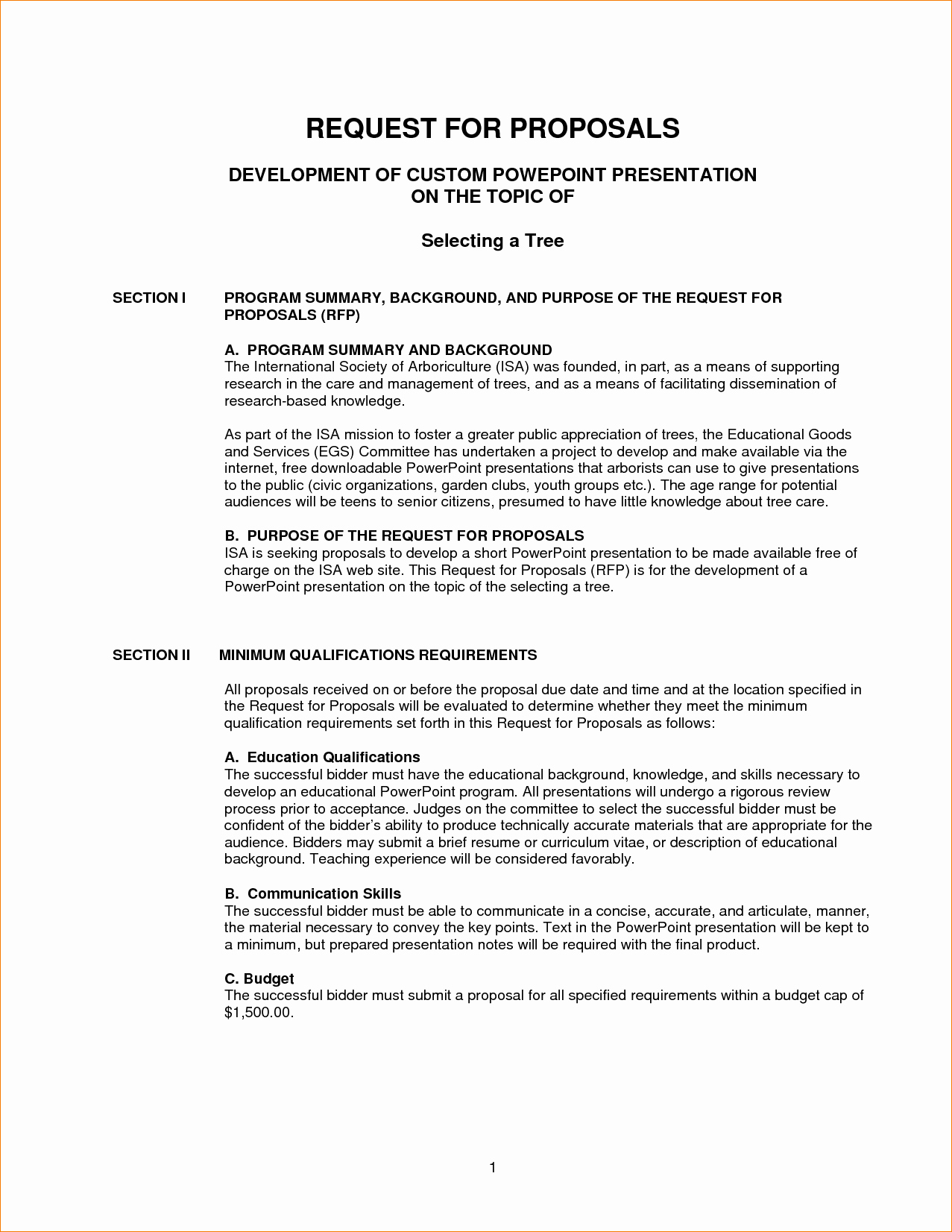 8 Request for Proposal Template
