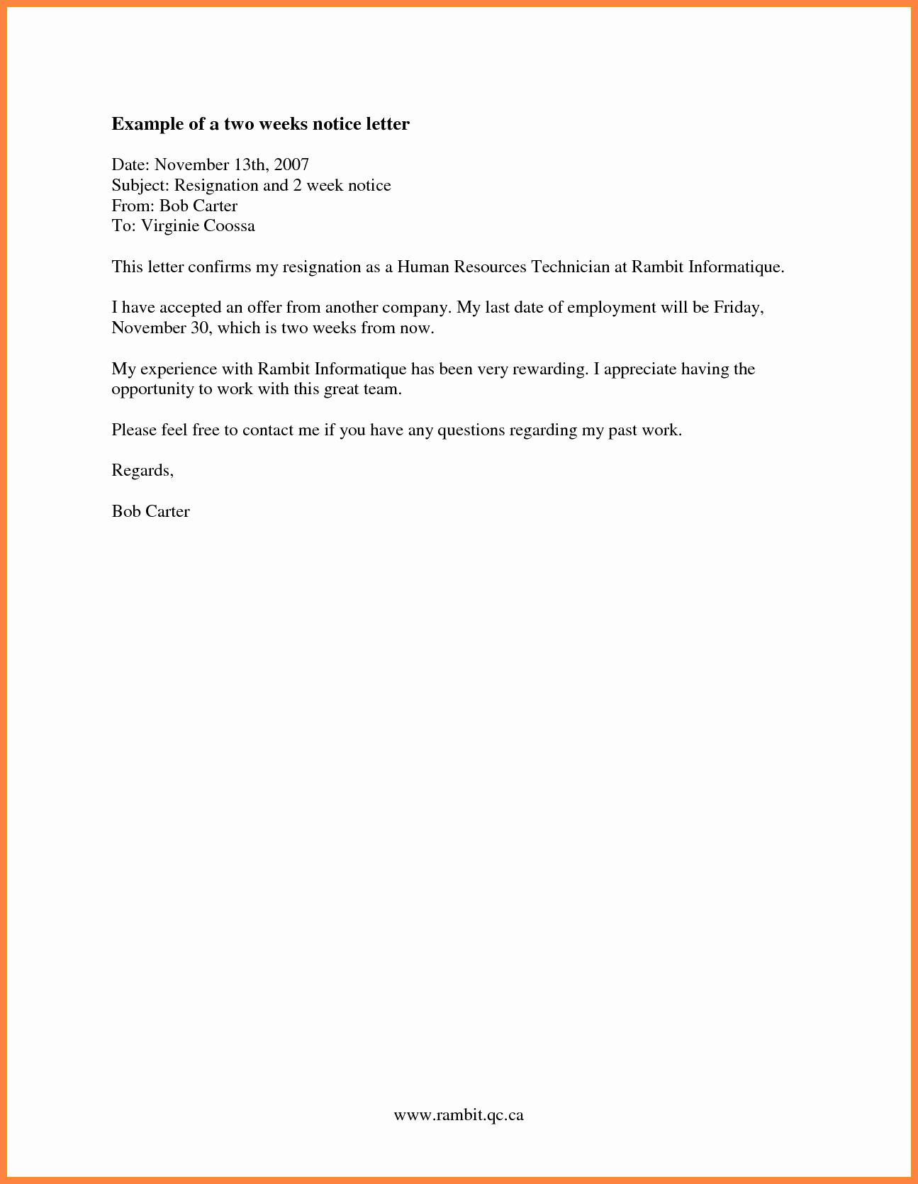 8 Resignation Letter 2 Week Notice Nurse
