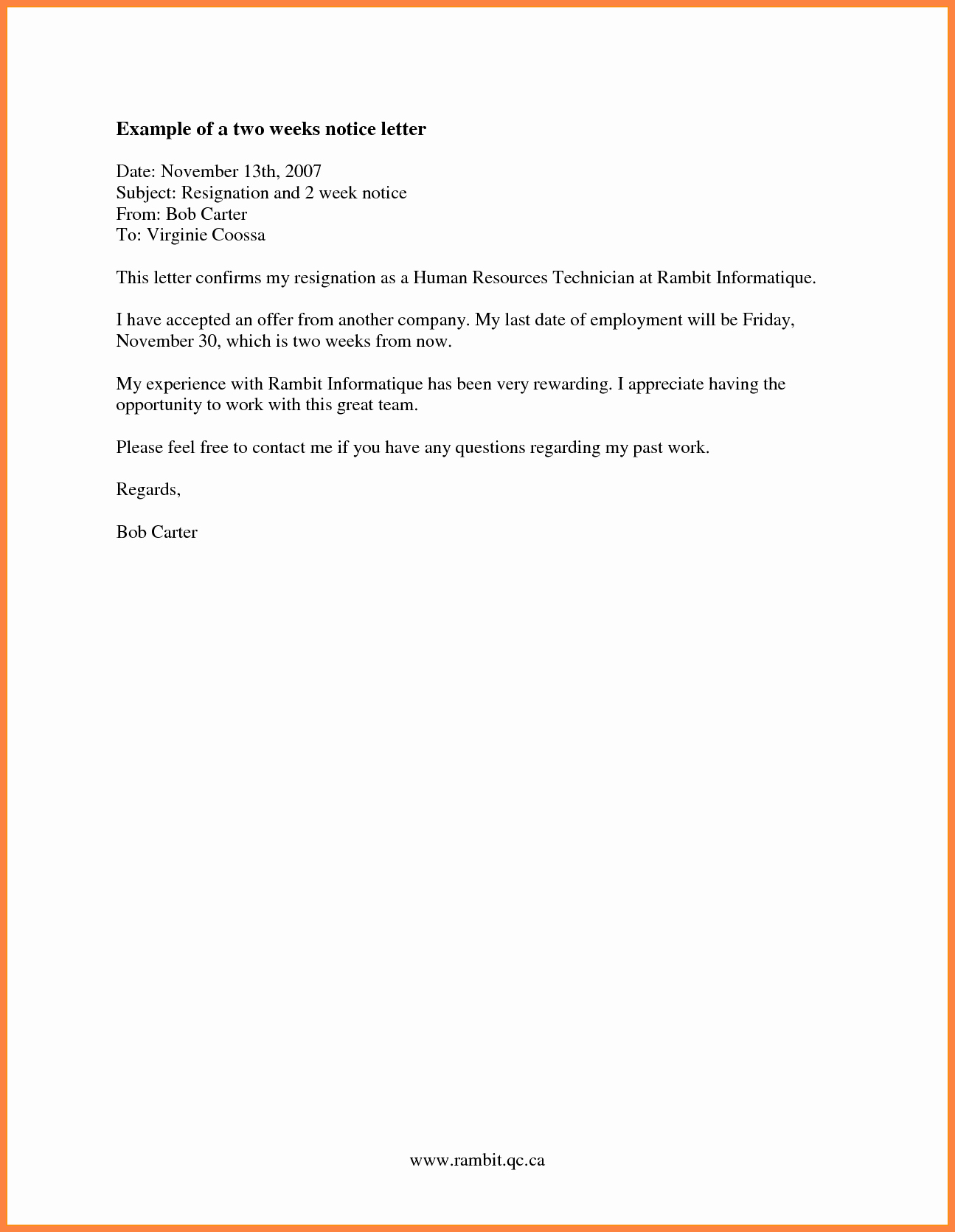8 Resignation Letter 2 Week Notice Nurse