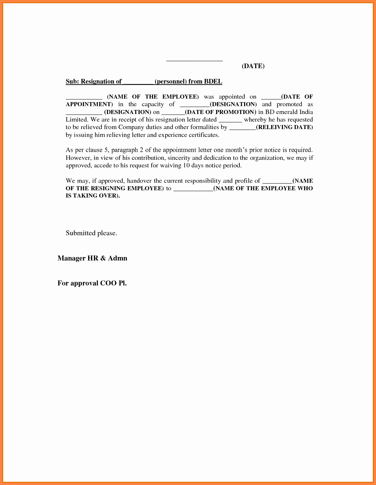 8 Resignation Letter Template 1 Month Notice