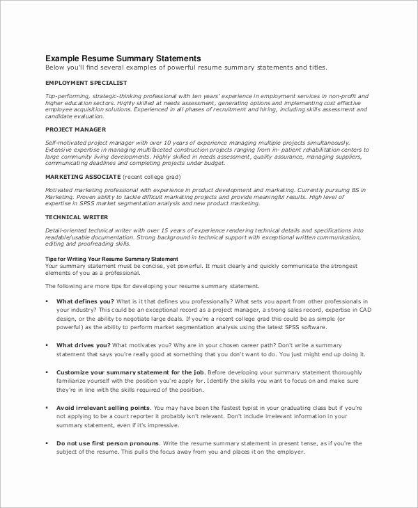 8 Resume Summary Examples – Pdf Word