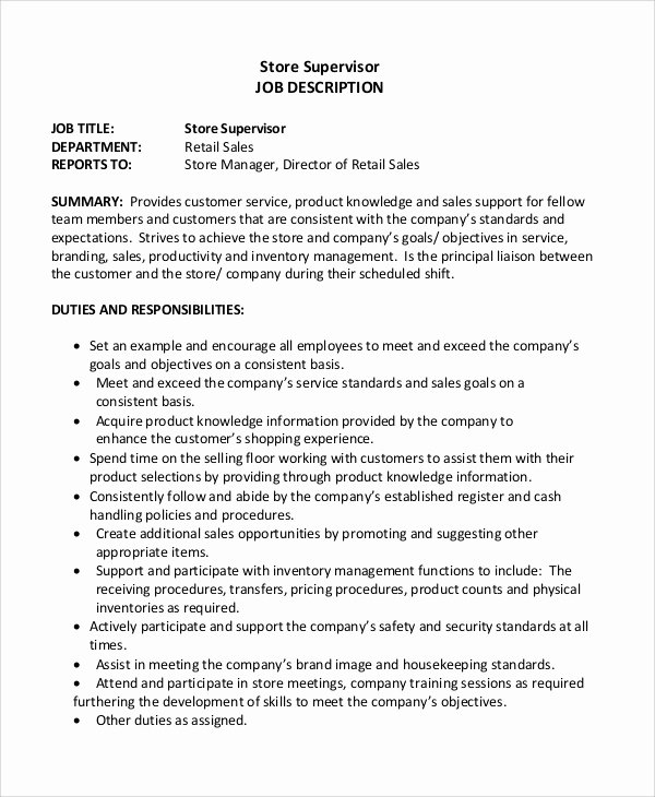 8 Retail Job Description Samples