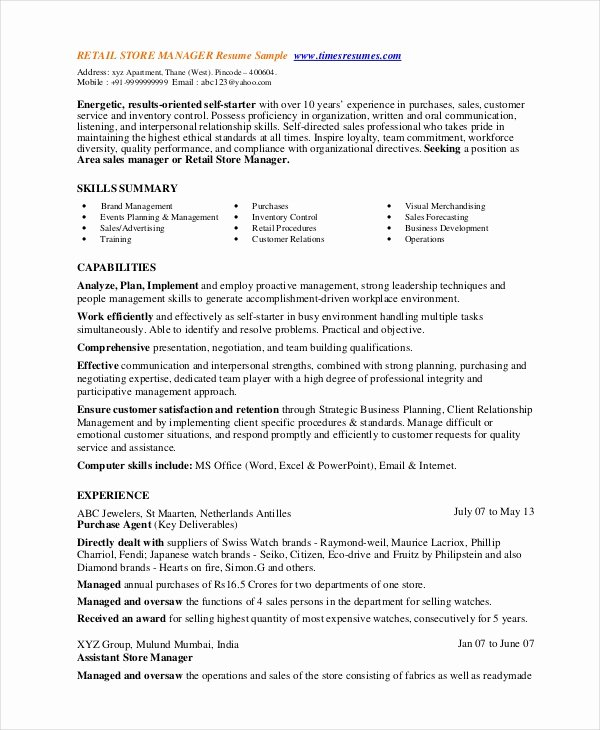 8 Retail Manager Resumes Free Sample Example format