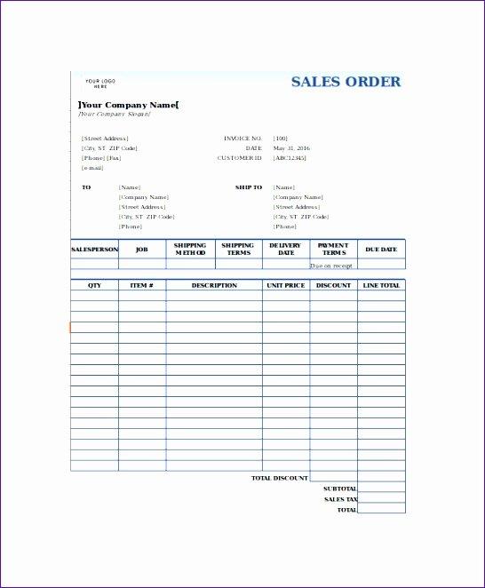 8 Sales order form Template Excel Exceltemplates