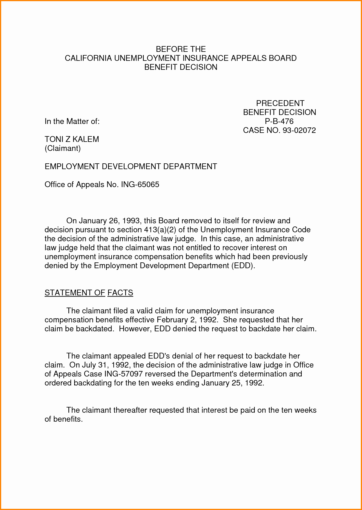 8 Sample Appeal Letter for Unemployment Denial