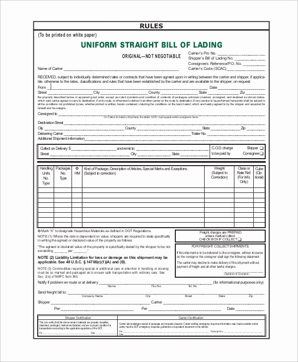 8 Sample Bill Of Lading forms
