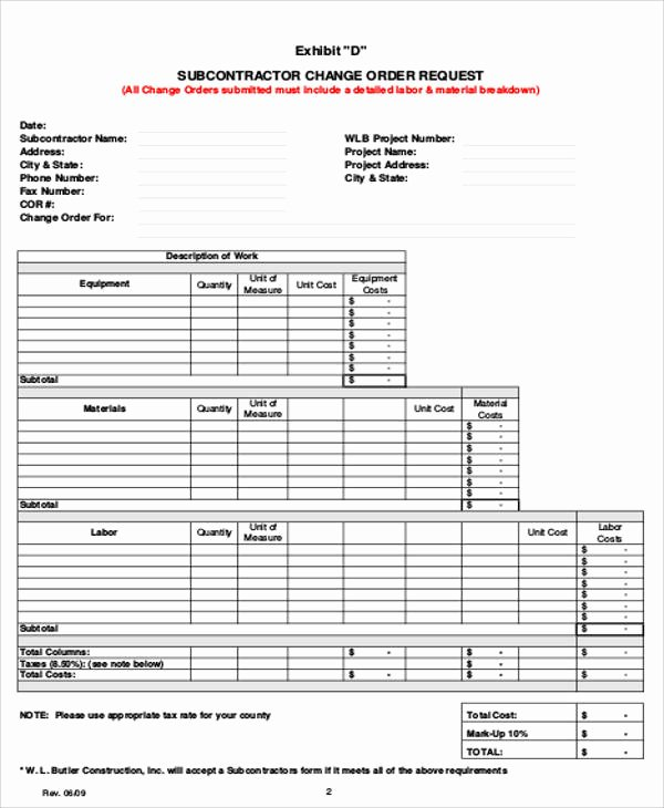 8 Sample Change order Request forms