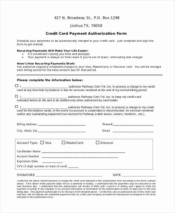 8 Sample Credit Card Authorization forms