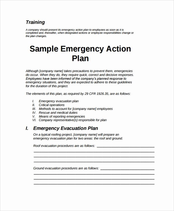 8 Sample Emergency Action Plans