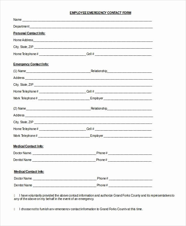 8 Sample Emergency Contact forms – Pdf Doc