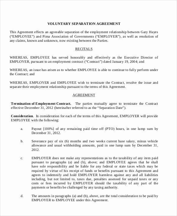 8 Sample Employment Separation Agreements