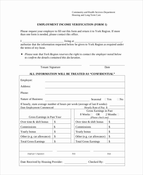 8 Sample Employment Verification forms