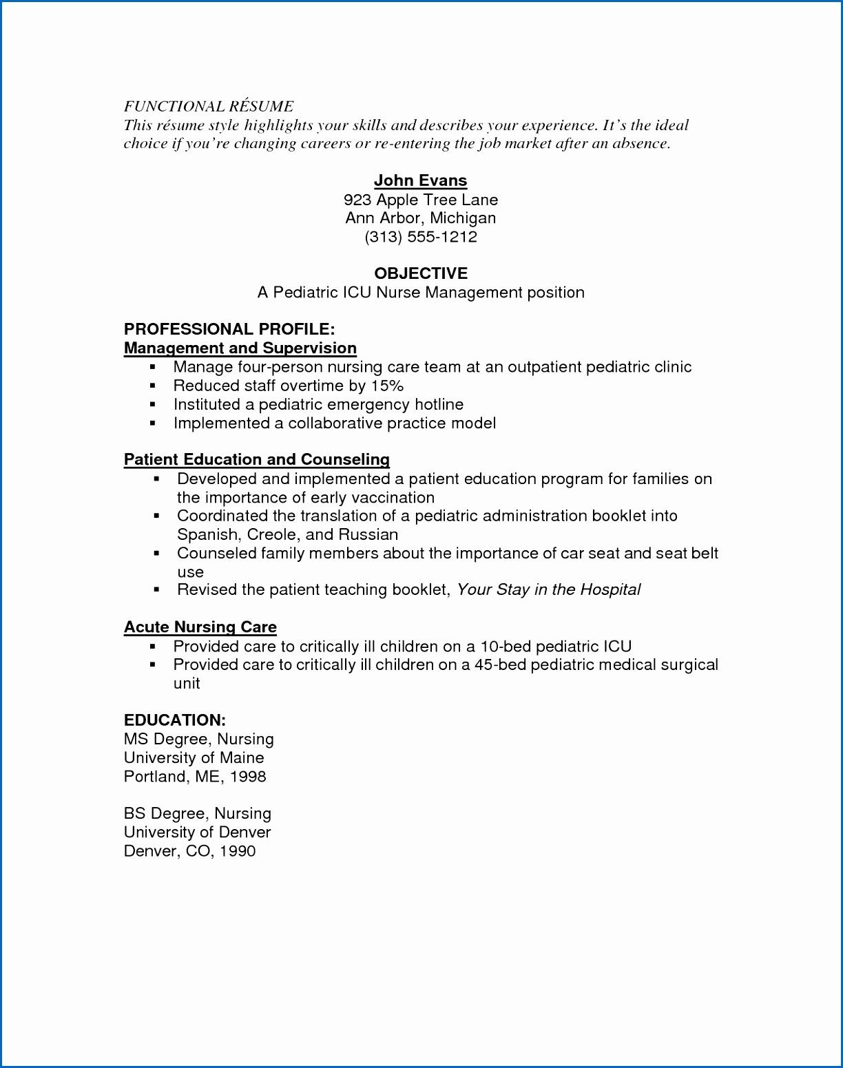 8 Sample Er Nurse Resume
