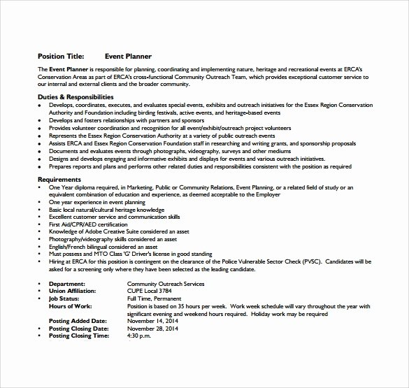 8 Sample event Planner Resumes