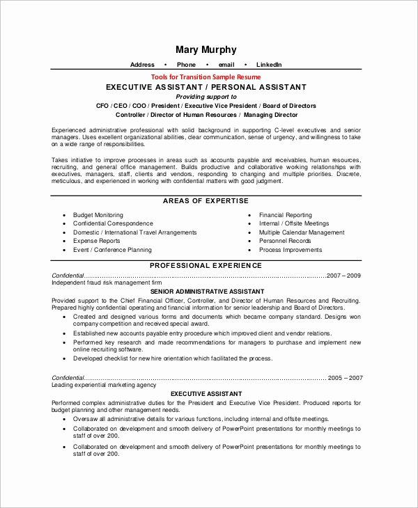 8 Sample Executive assistant Resumes