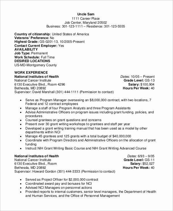 8 Sample Federal Resumes