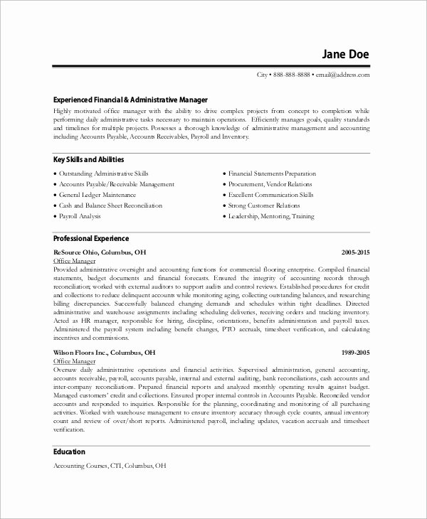 8 Sample Fice Manager Resumes