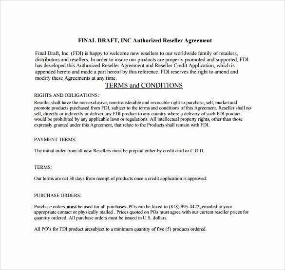 8 Sample Free Reseller Agreement Templates to Download