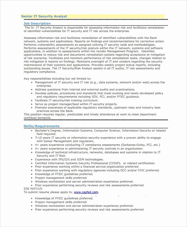 8 Sample Information Security Analyst Resumes