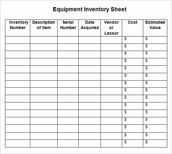 8 Sample Inventory Sheets