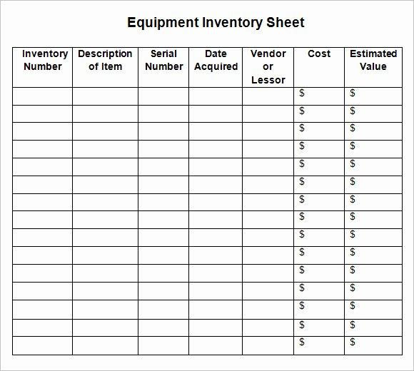 8 Sample Inventory Sheets