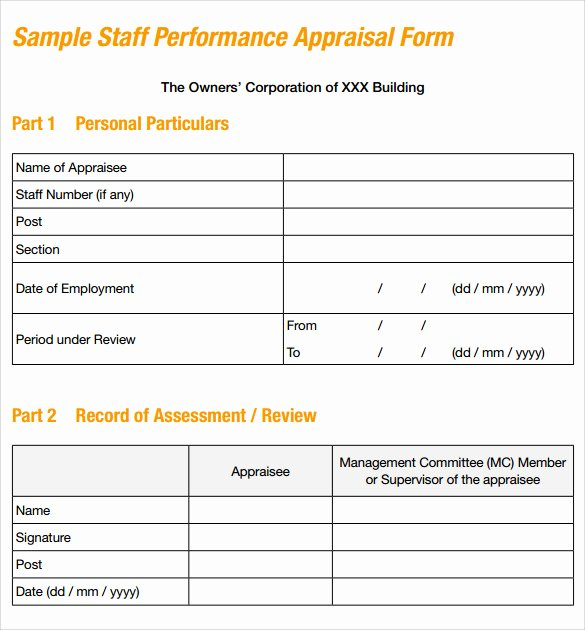 8 Sample Job Performance Evaluation forms