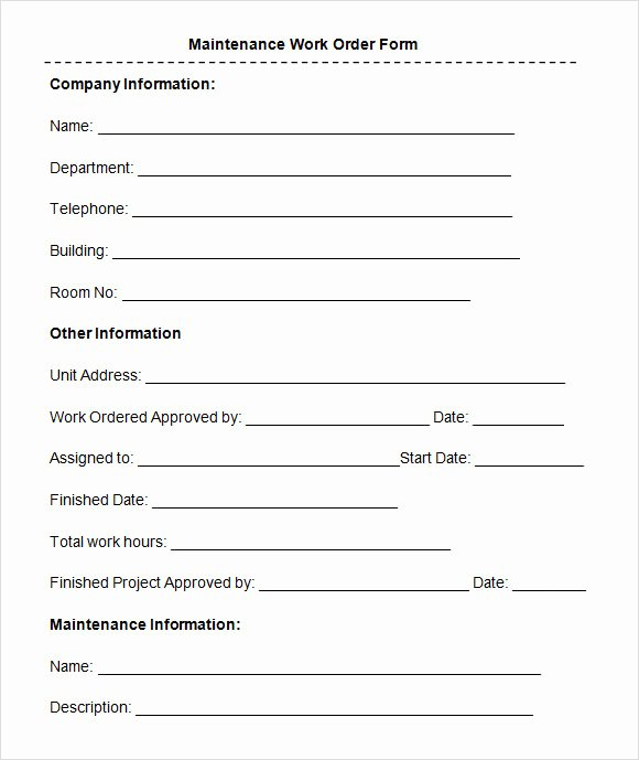 8 Sample Maintenance Work order forms