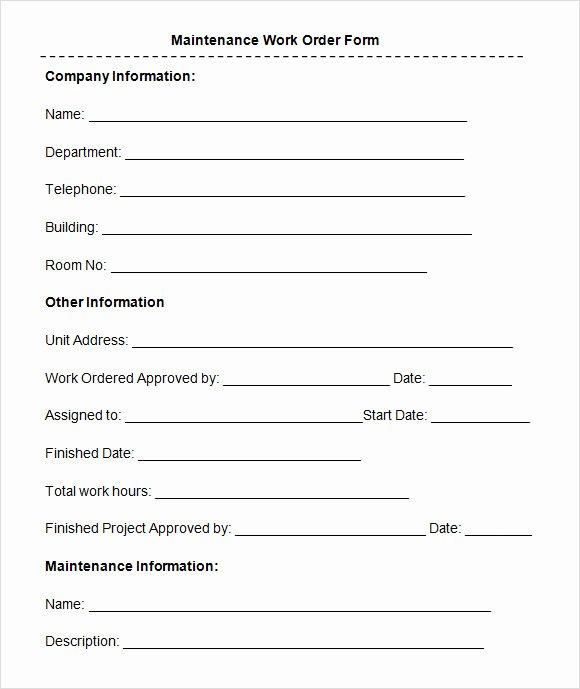 8 Sample Maintenance Work order forms