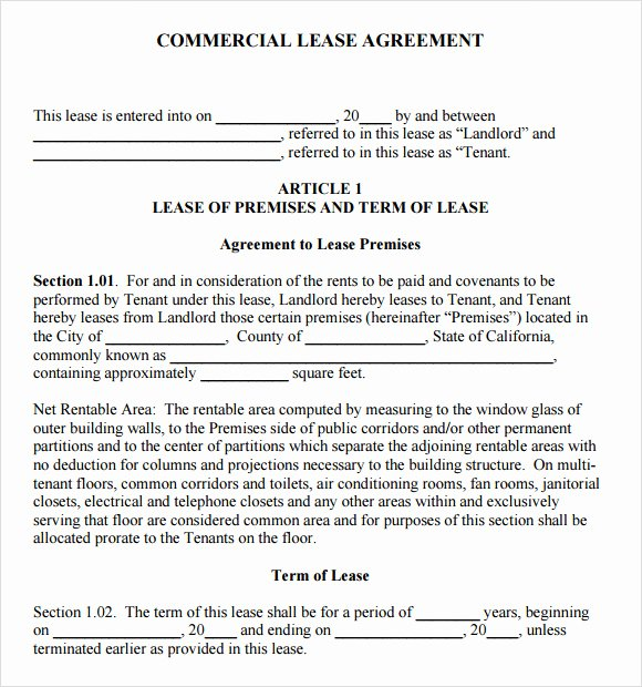 8 Sample Mercial Lease Agreements
