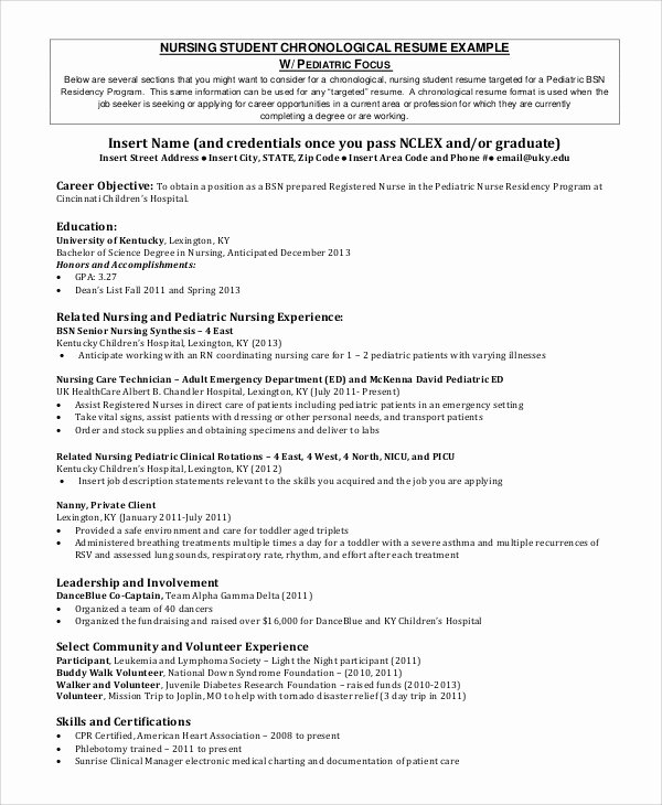 8 Sample Nursing Student Resumes
