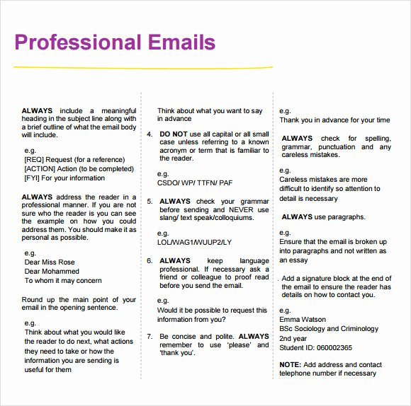 8 Sample Professional Emails – Pdf