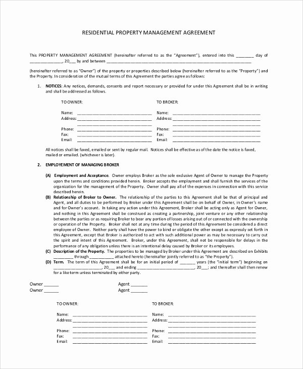 8 Sample Property Management Agreements