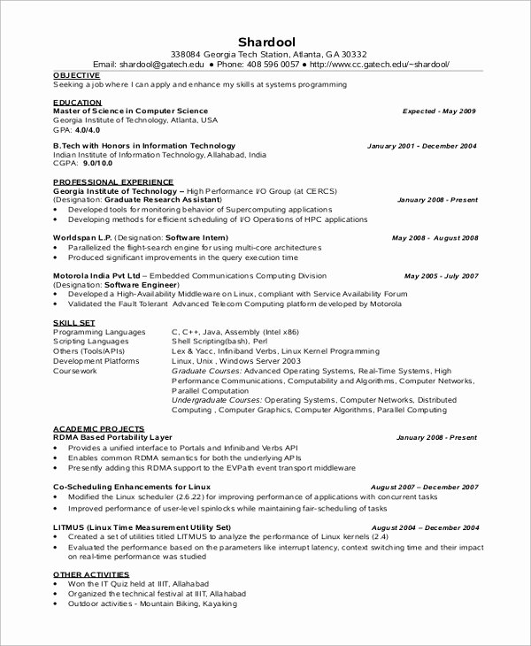 8 Sample Puter Science Resumes