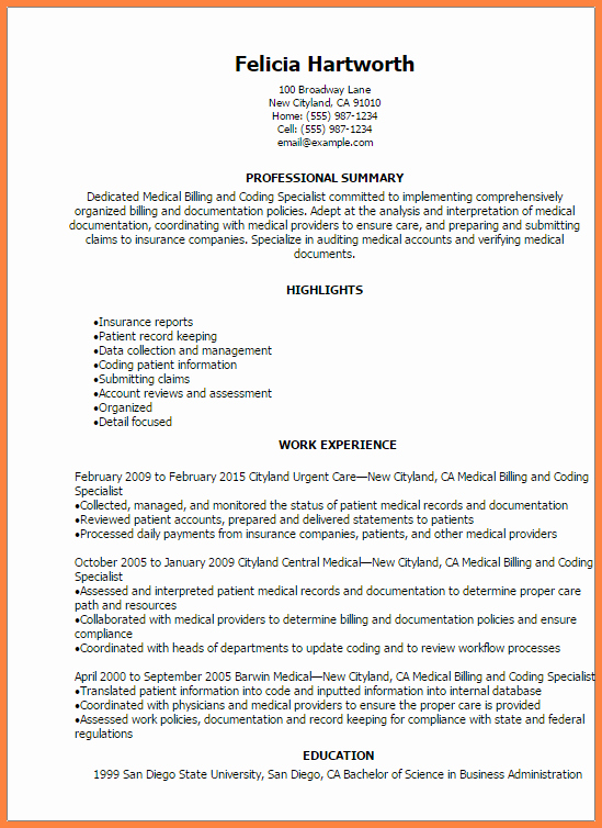 8 Sample Resume for Medical Billing Specialist