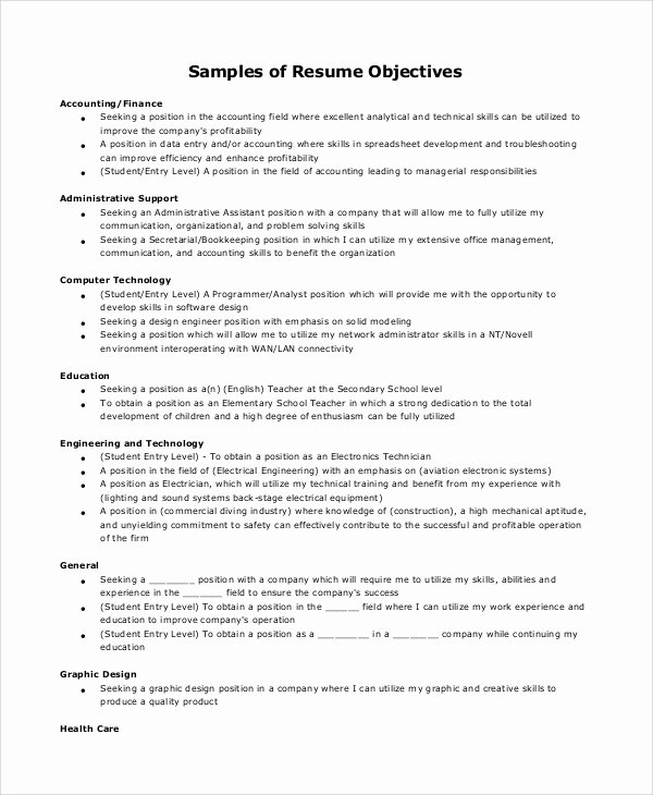 8 Sample Resume Objectives