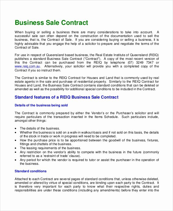 8 Sample Sales Contracts