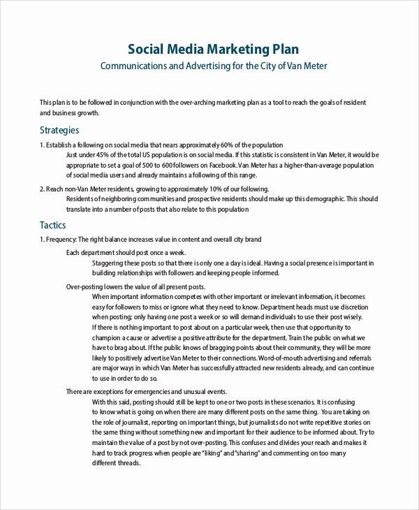 8 Sample social Media Marketing Plans