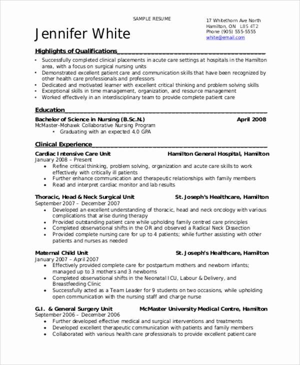 8 Sample Student Nurse Resumes