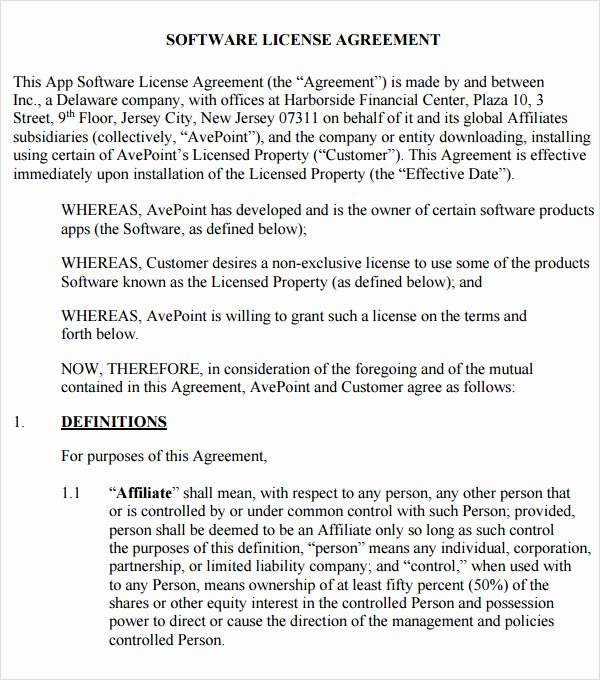 8 Sample Useful software License Agreement Templates