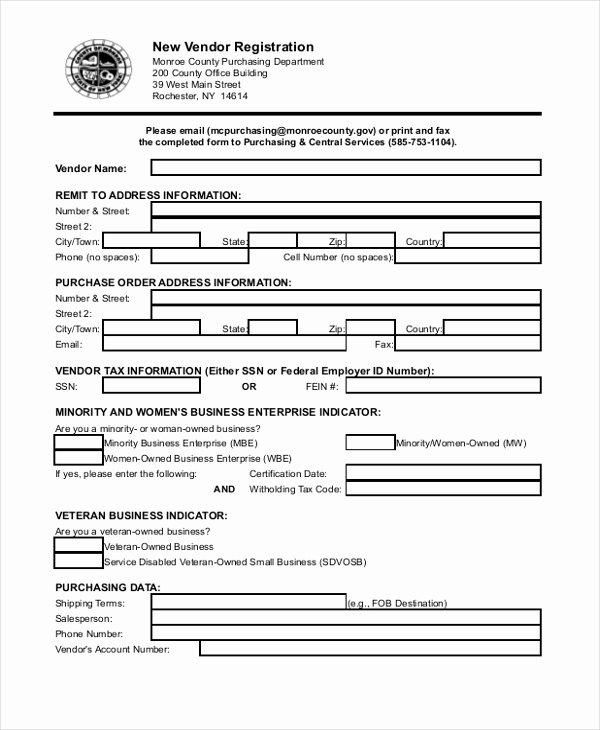 8 Sample Vendor Application forms Sample Example format