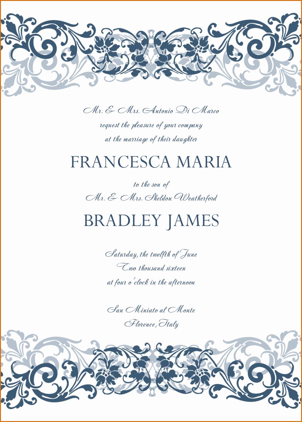 8 Sample Wedding Invitation