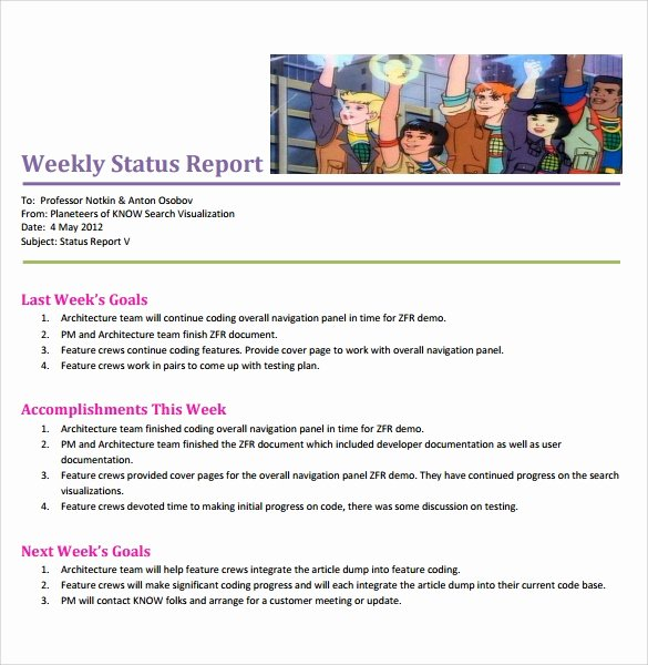 8 Sample Weekly Status Reports