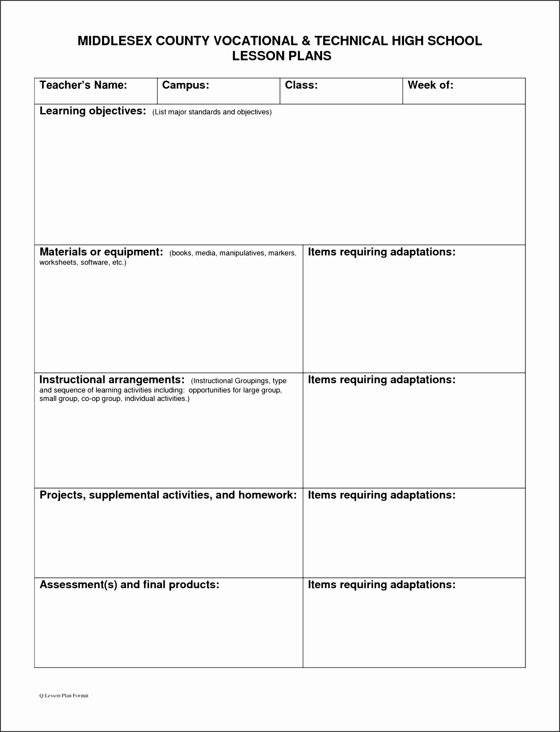 school lesson plan template wgyki