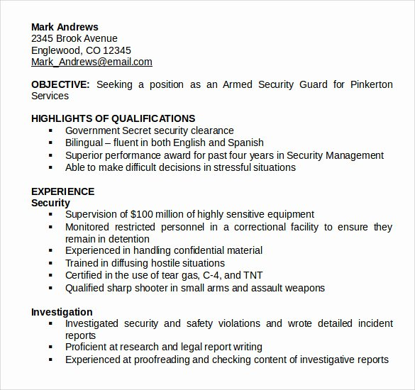 8 Security Guard Resume Templates to Download